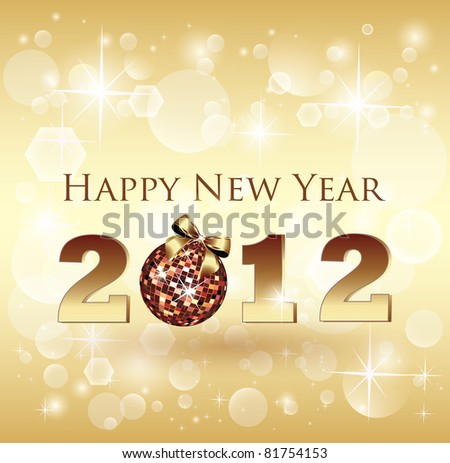 Shiny Bokeh New Year Celebration Card - Vector - stock vector