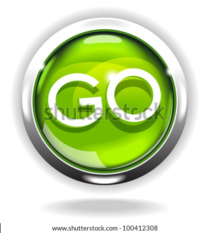 shiny bright button with the word Go . File is saved in AI10 EPS version. This illustration contains a transparency - stock vector