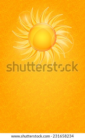 Shiny Bright Invitation Cards with Yellow Sun. Summer Illustration - stock vector