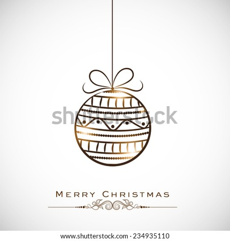 Shiny brown X-mas Ball hanging on grey background for Merry Christmas celebrations. - stock vector