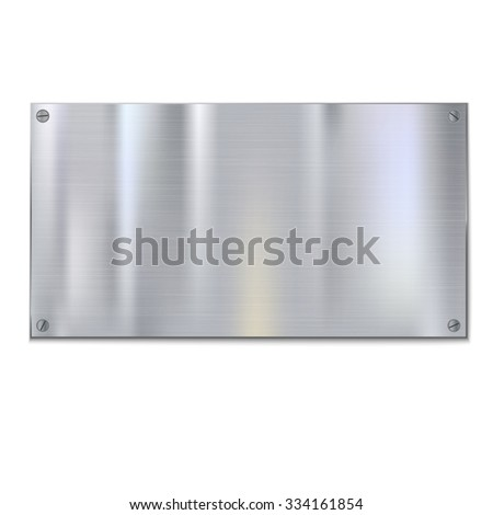 Shiny brushed metal plate with screws. Stainless steel background, vector illustration for you