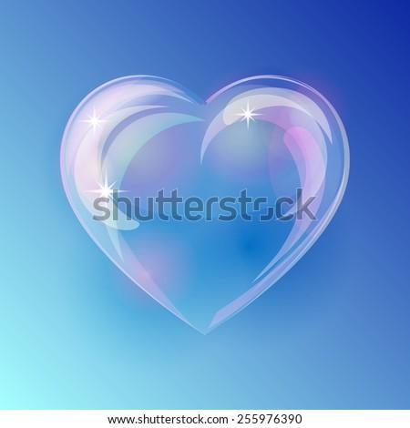 Shiny bubble heart on blue background. Vector illustration  - stock vector
