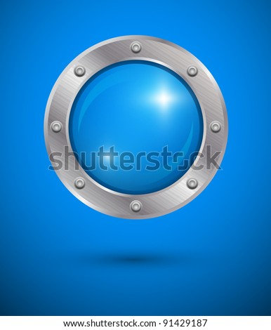 Shiny bubble in aluminum edging on blue background. Vector art. - stock vector