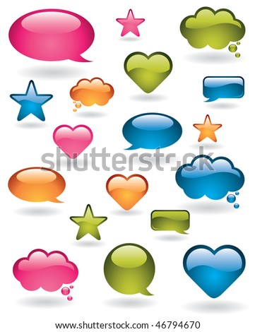 Shiny bubbles, stars and heart shapes in many colors - stock vector