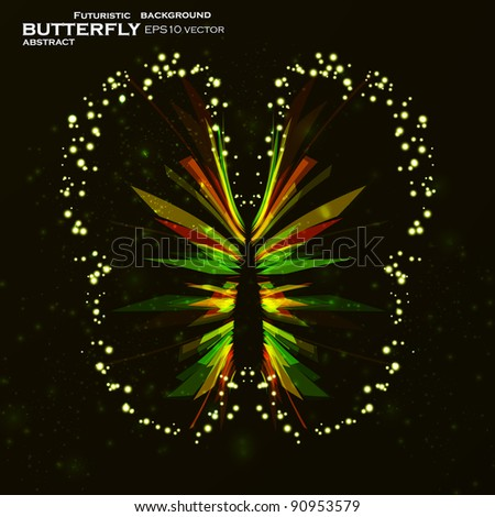 Shiny Butterfly abstract vector, futuristic colorful strip, stylish illustration eps10