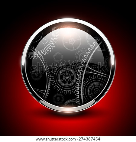Shiny button glossy metallic with vector machinery inside. - stock vector