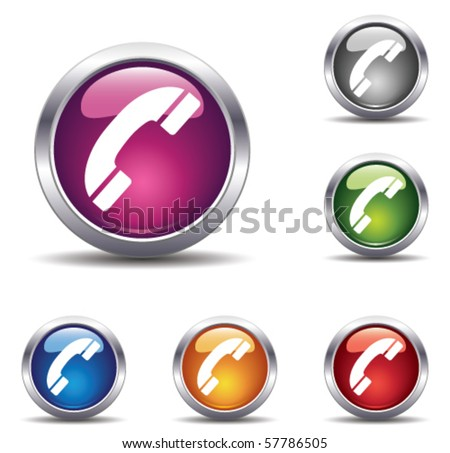 shiny buttons with telephones - stock vector