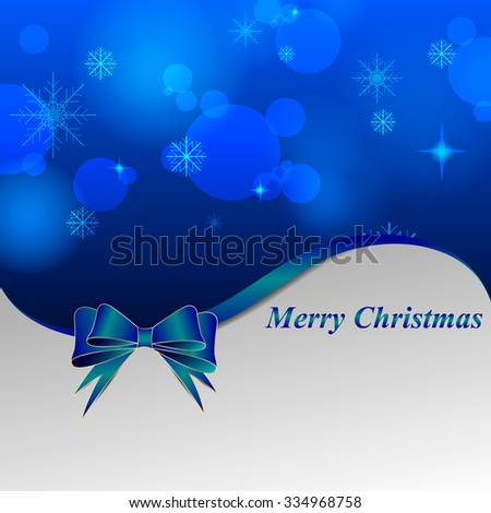 Shiny Christmas background with a blue bow and a wave  - stock vector
