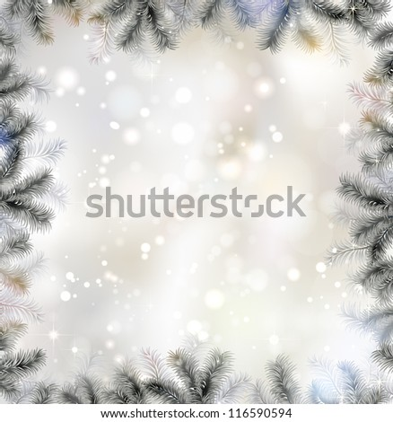 Shiny Christmas background with fir-tree frame - stock vector