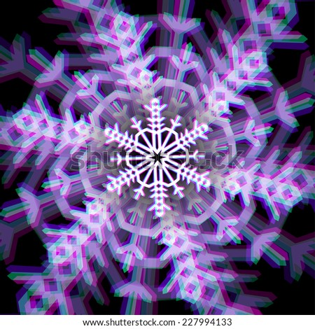 Shiny christmas snowflake sign with color aberrations