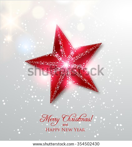 Shiny Christmas star, Winter Holidays background - stock vector