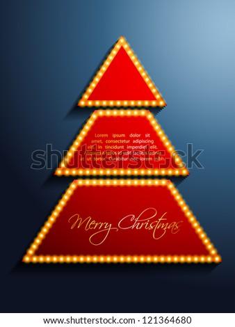 shiny christmas tree vector design art - stock vector