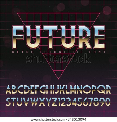 Shiny Chrome Alphabet in 80s Retro Futurism style. Vector font on cityscape background - stock vector