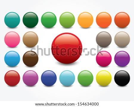 Shiny Circle - Blank Button Collection - Various Color - stock vector
