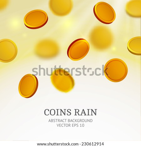 Shiny coins rain background. Vector illustration. - stock vector