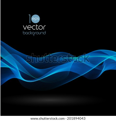 Shiny color smoke waves over dark vector backgrounds