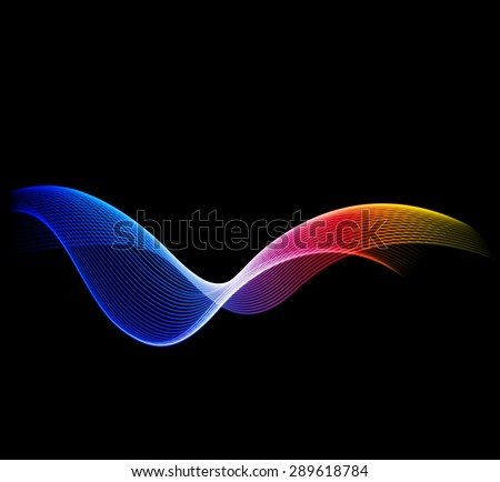 Shiny color waves over dark vector background. - stock vector