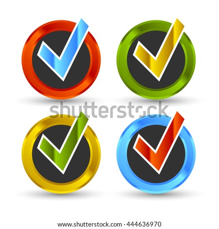 shiny colored check marks - stock vector