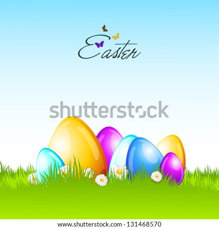 Shiny colorful Easter eggs on nature background. - stock vector