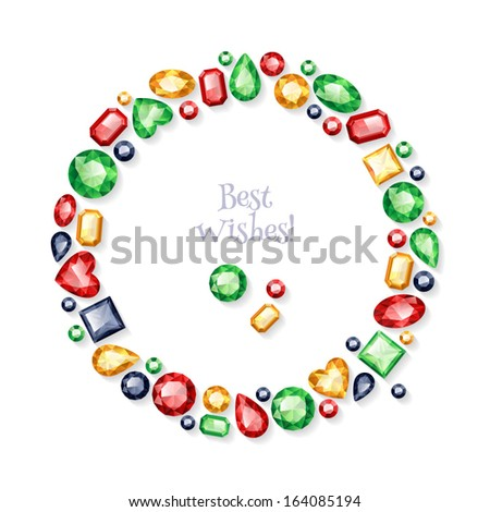 Shiny colorful gemstones frame. - stock vector