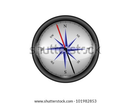 shiny compass isolated on white background