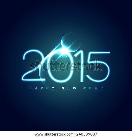 shiny creative 2015 new year design with dark blue theme