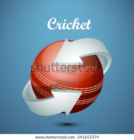 Shiny cricket ball surrounded by 3D arrow on blue background. - stock vector