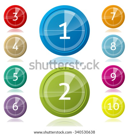 Shiny 3d buttons with countdown pie and numbers - stock vector