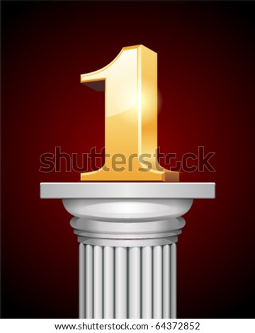 Shiny 3d first place on white column - stock vector