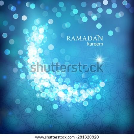 Shiny decorative moon on blue bokeh background for Muslim community events. Ramadan kareem greetings. Festive vector illustration - stock vector