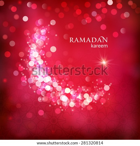 Shiny decorative moon on red bokeh background for Muslim community events. Ramadan kareem greetings. Festive vector illustration - stock vector