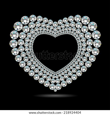 Shiny diamond heart on black background - stock vector