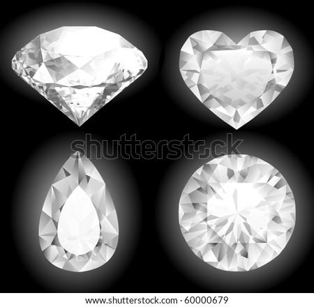 Shiny diamonds collection - stock vector
