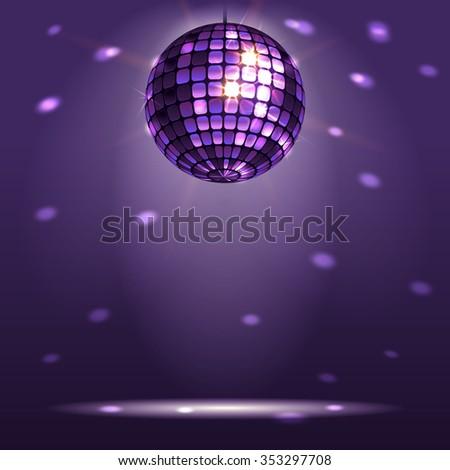 shiny disco ball on a dark background - stock vector