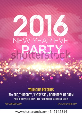 Shiny elegant Flyer, Banner or Pamphlet for Happy New Year's 2016 Eve Party celebration. - stock vector