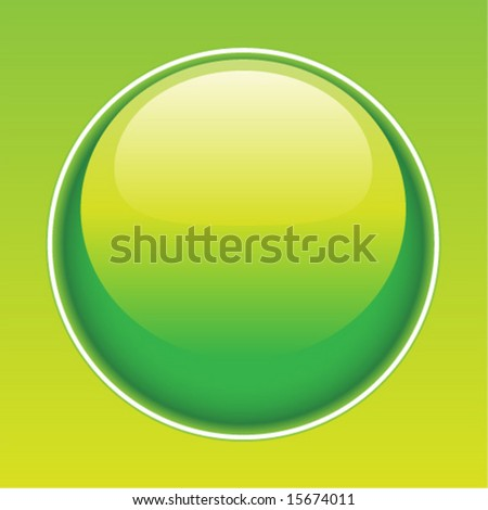 Shiny environmental green droplet button. Vector art. - stock vector