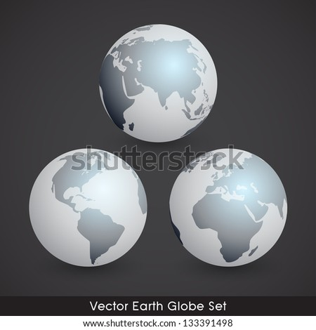 Shiny EPS10 Vector Earth Globe Set - stock vector