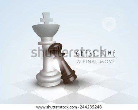 Shiny figures of king and pawn on chess board for final move of chess. - stock vector