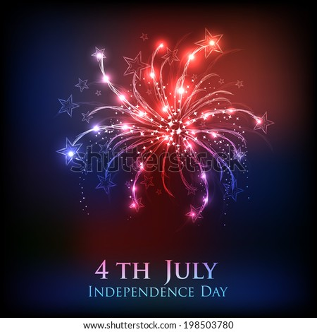 Shiny firecrackers on red and blue background for 4th of July, American Independence Day celebrations.  - stock vector