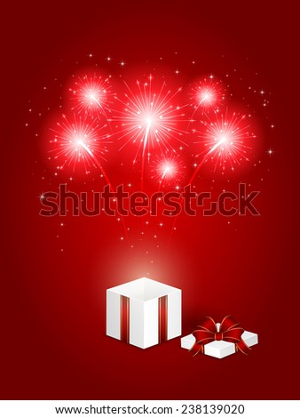 Shiny fireworks and gift box on red background, illustration. - stock vector
