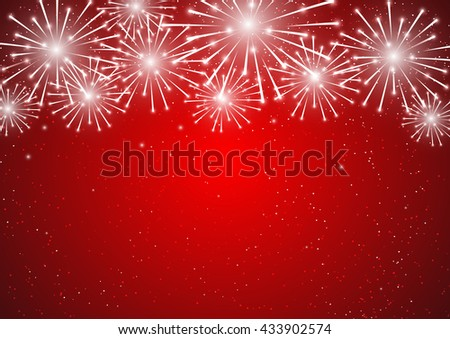 Shiny fireworks on red background