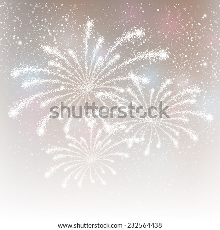 Shiny fireworks on silver background - stock vector