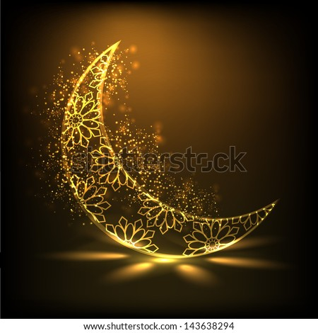 Shiny floral decorative moon on brown background for Muslim community festival Eid Mubarak. - stock vector