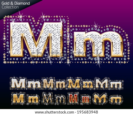Shiny font of gold and diamond vector illustration. Letter m - stock vector