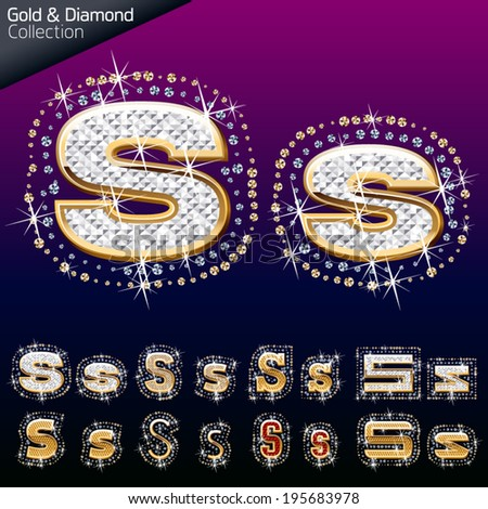 Shiny font of gold and diamond vector illustration. Letter s - stock vector