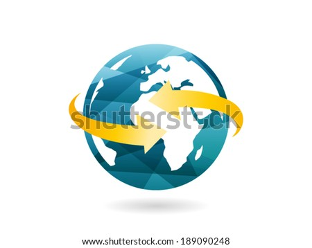 Shiny geometric globe icon with arrow abstract concept. Vector illustration graphic template isolated on white background - stock vector
