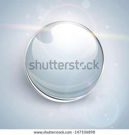 Shiny glass ball vector background. - stock vector