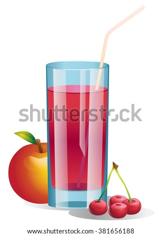 Shiny glass of apple and cherry juice. Vector