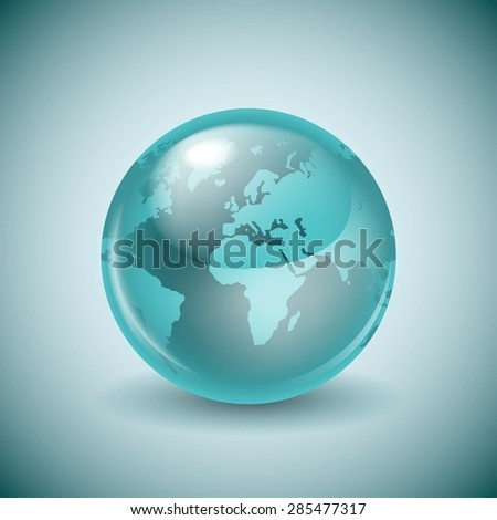 Shiny glass world globe