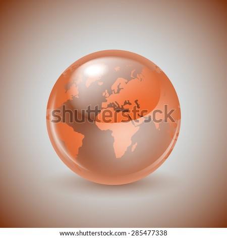 Shiny glass world globe - stock vector